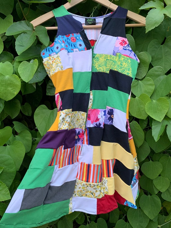 XS Patchwork Tshirt Dress Multi color Petite Tween Junior size