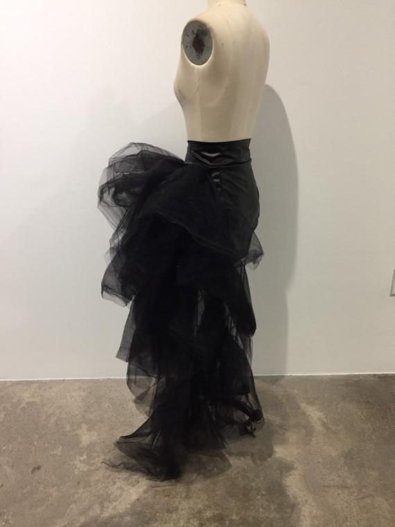 Floofy Tulle Skirt Black vinyl separating Zipper Burlesque Dance Reveal