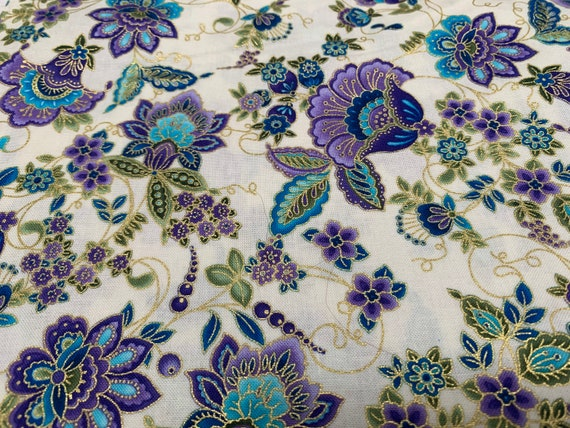 Gold Leaf white and Purple Cotton Fabric Piece