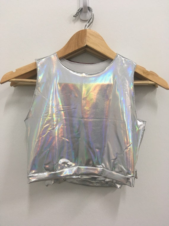 Size Small Holographic stretchy Rave rainbow Crop Top