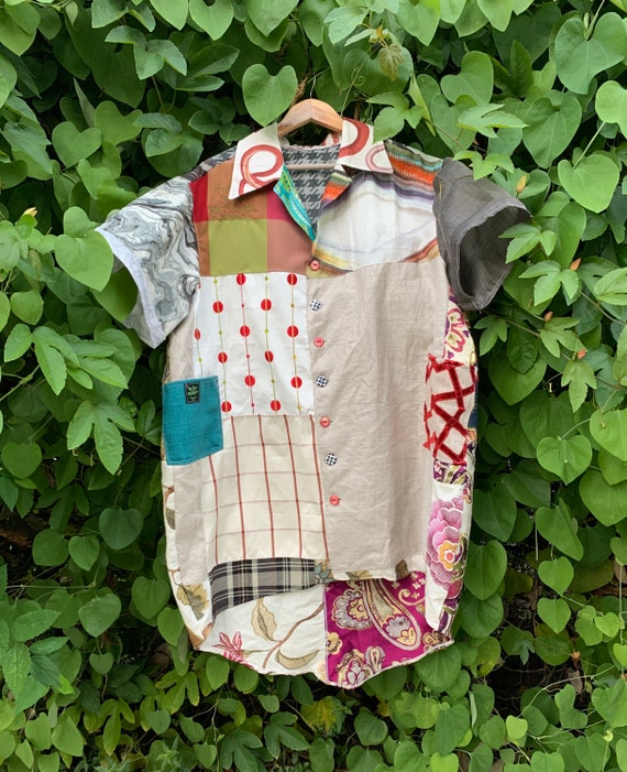Cocoon Dress Upcycle sustainable materials Size Large Button Down