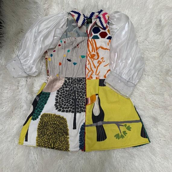 Balloon sleeve Patchwork Sustainable Dress Size Medium