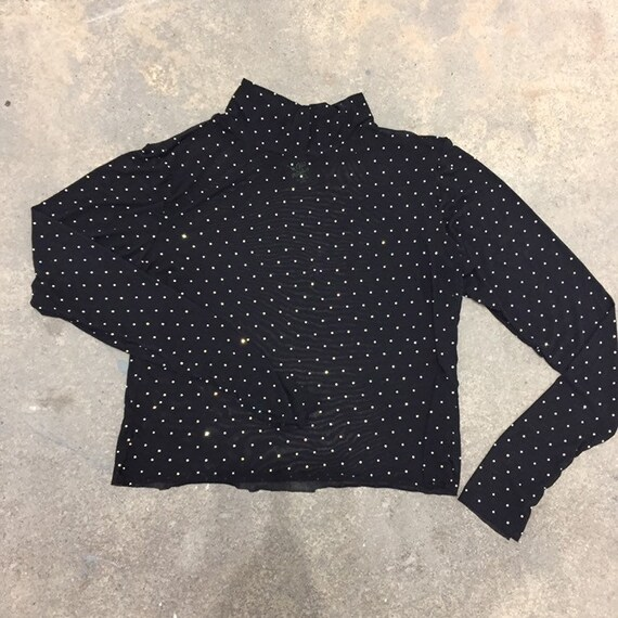 Black Sparkle Rhinestone Mesh Top