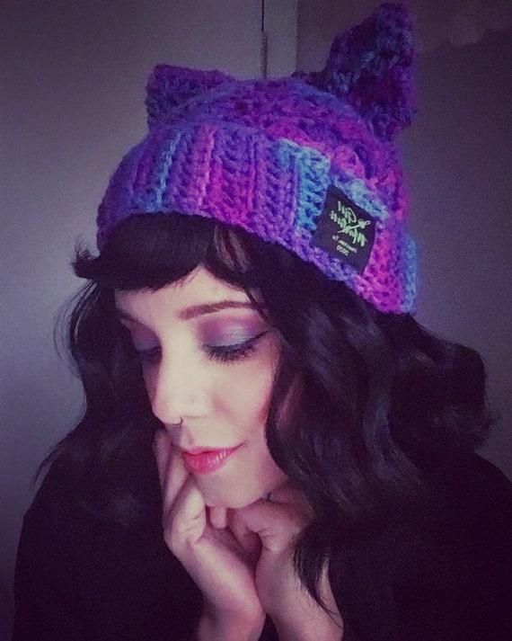 Purple and teal Acrylic/Wool KittyCatBeanie