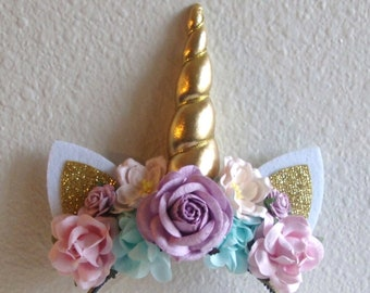Unicorn Headband - Adult - Girl - Blue - Pink - Lavender bb4b32a594e