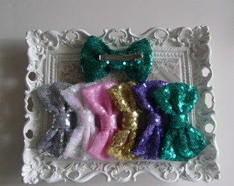 Sequin Bow - 4 inches - Clip Bow - Girl - Teen - Adult - Sparkly Bow f91a5d389f9b
