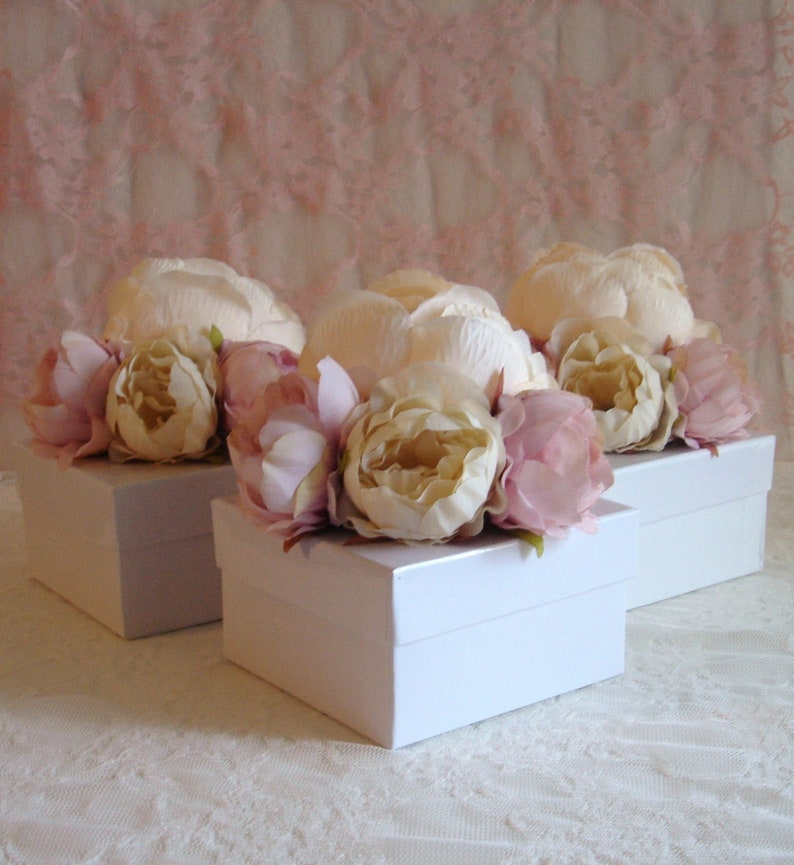 Small Flower Gift Boxes Box With Lid Bridal Shower Boxes 3 5 X 3 5 X 2 Jewelry Box Bridesmaid Blush Pink Empty