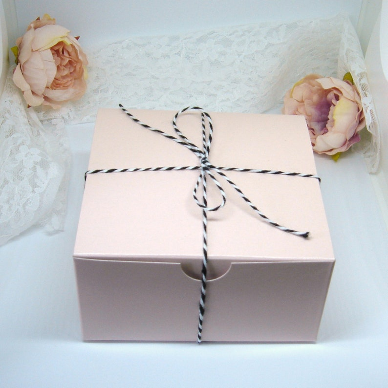 492cc3f0f7b6 25 Blush Pink 4x4x2 Favor Boxes with Twine - Kraft Cake Favor Box - Tuck  Top - 4 inch Gift Box - Small Dessert Favor Box - Pink Black White