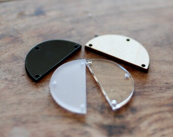 Geometric earring findings, Wood findings for earrings, jewellery supplies, earring findings, black half circles, pendant supplies, 4 pcs