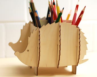 Hedgehog pencil holder, Children table organiser, Hedgehog shelve, Wood table organiser, Children room decor, Animal decor, Pen holder
