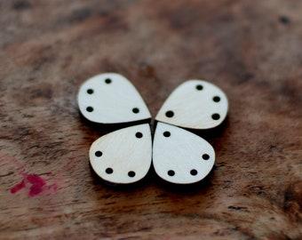 Drop shape earring findings, Wood findings for earrings, jewellery supplies, tassel earring findings, timber drops with holes, 4 pcs