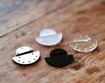Geometric earring findings, Acrylic findings for earrings, jewellery supplies, earring findings, half circles, pendant supplies, 2 sets