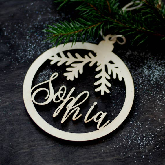 Personalized Christmas Decor.Custom Christmas Ornament Holiday Ornament With Name Personalized Christmas Tree Decor Wood Ornament Wood Xmas Decor Sophia