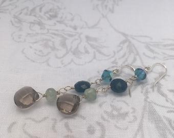 Smoky quartz and aqua earrings, 100% sale price donated to Democrats