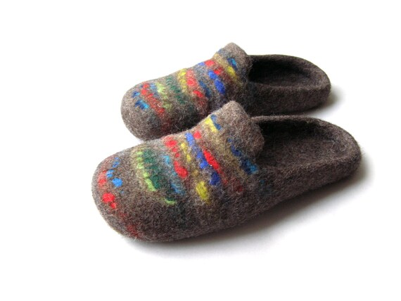 Feutré pantoufles de laine laine laine naturelle pour les hommes, les femmes / feutrée chaussures, feutrée chaussons couleur/bleu / rouge / vert dd7dc4