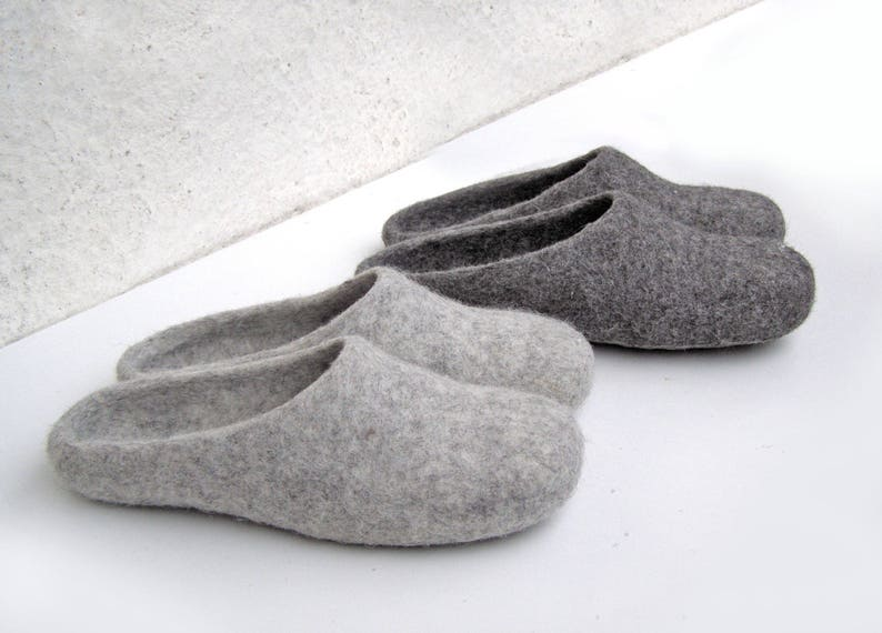 29bfeb0e7a836 Family slippers set 2 pairs of natural felted wool Grey house shoes