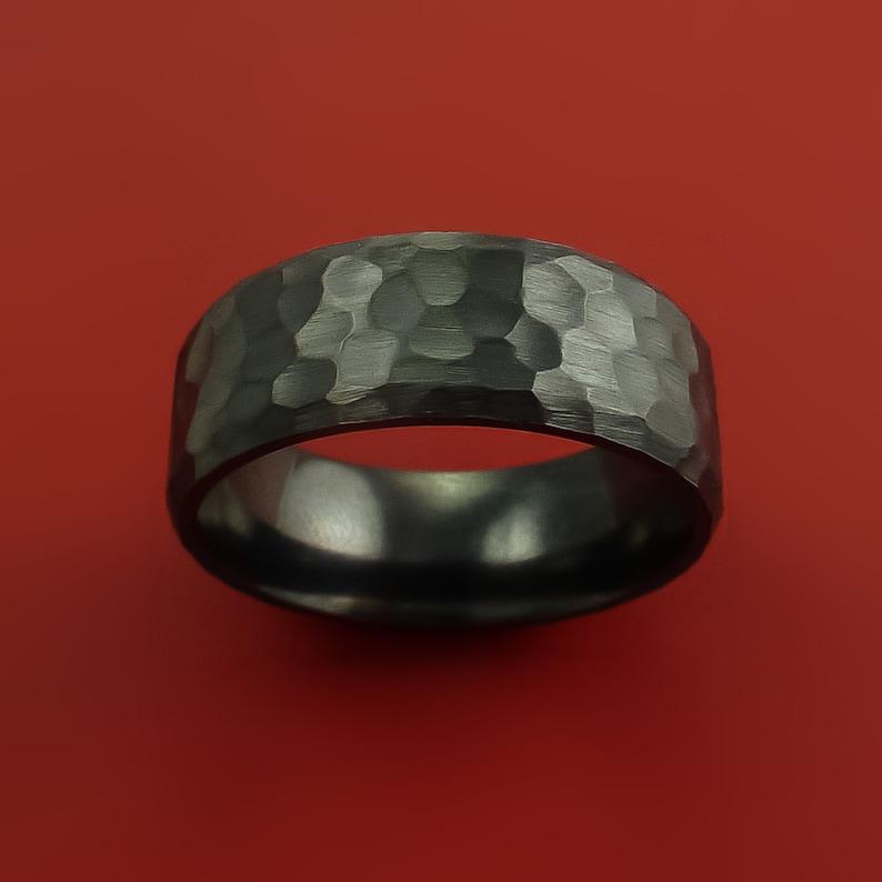Black Zirconium Ring Hammer Finish Custom made Band to any Sizing