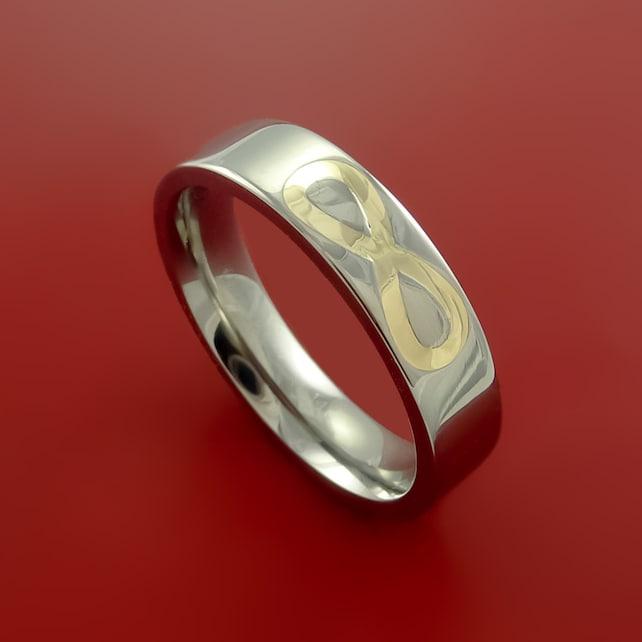 Yellow Gold Infinity Symbol And Titanium Ring Wedding Band Etsy