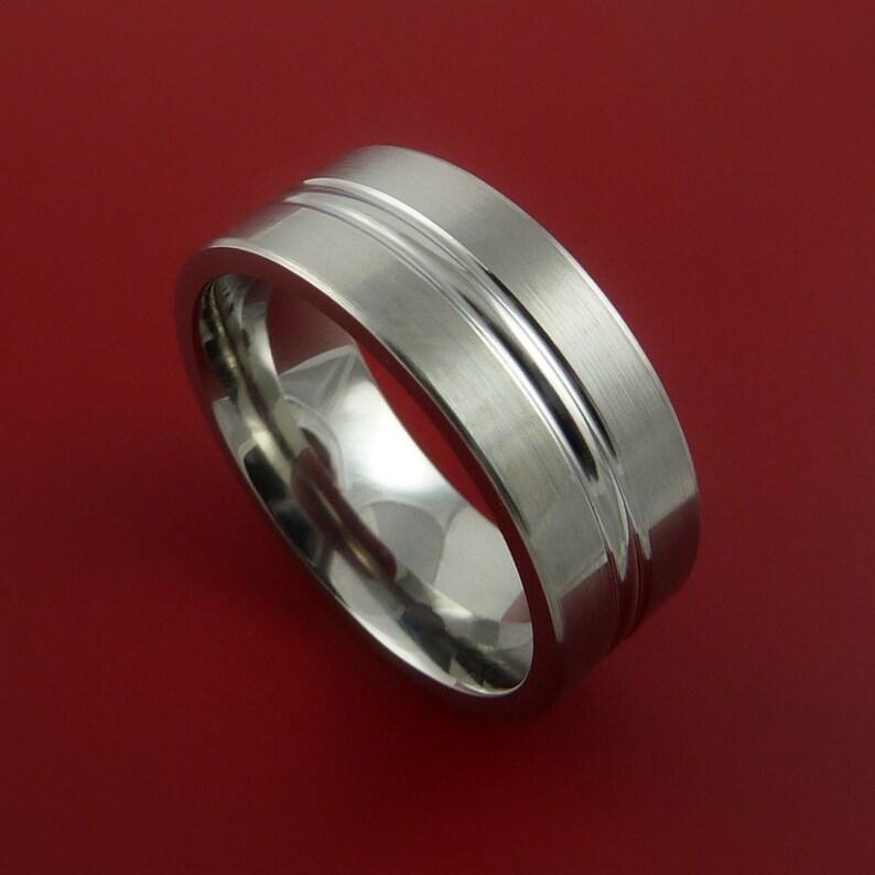 Titanium Wedding Band Engagement Ring Modern Made to Any Sizing and Finish 3-22