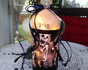 Halloween lamp,halloween lights,lighted glass bottles,recycled wine bottles with lights,wine bottles with Christmas lights,wine bottle lamps