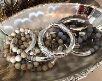 All Hammered Silver Bangle Stretch