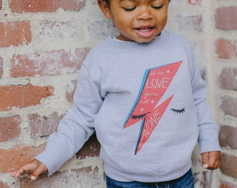 David Bowie, Ziggy Stardust inpsired Oh no, Love, you're not alone kids sweatshirt and t-shirt