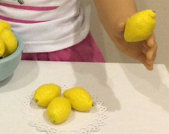 Miniature Dollhouse 4 Whole Lemons for American Girls AG 18 inch doll food 1:3 scale