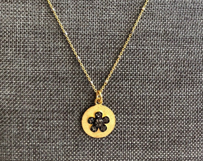 "Gray Diamond and Gold Necklace | Floral Diamond Pendant | 18"" Goldfill and Sterling Chain"