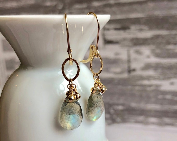 14 Karat Gold and Labradorite Earrings on Leverbacks | Stunning Gray Gemstones on Gold