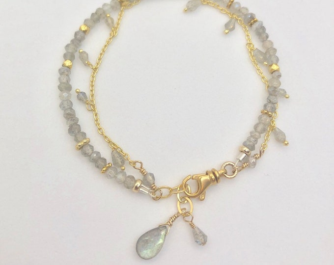 Gold and Labradorite Double Strand Bracelet