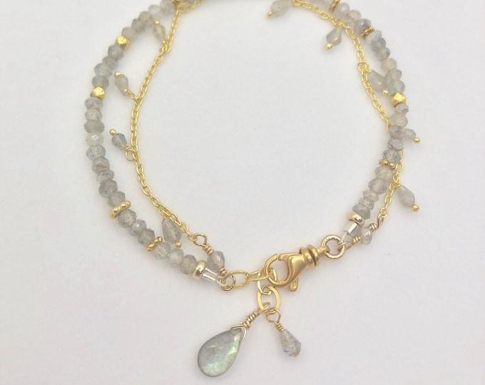 Gold and Labradorite Double Strand Bracelet