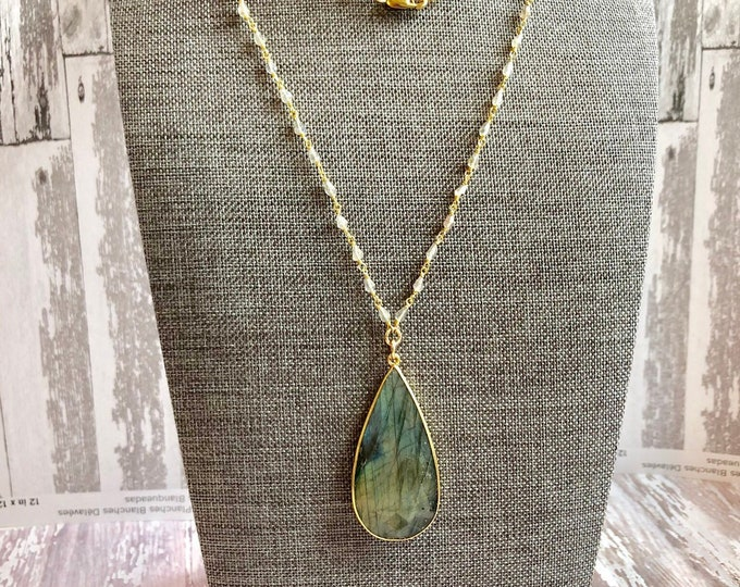Long Labradorite Pendant Necklace with Rosary Style Chain