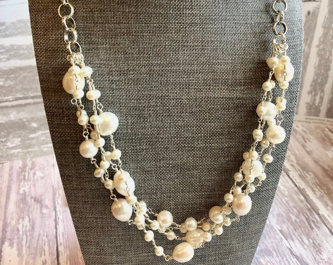 "22"" Wire Wrapped Pearls and Silver Chain 