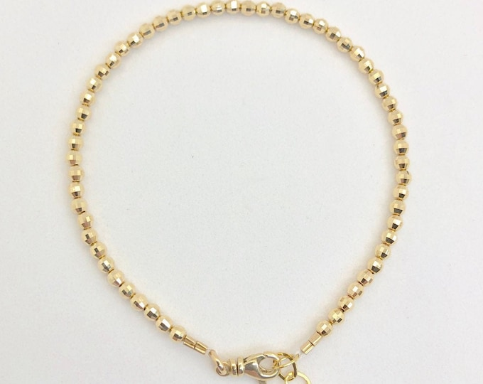 14 Karat Gold Bead Bracelet-Mirrored 3 mm