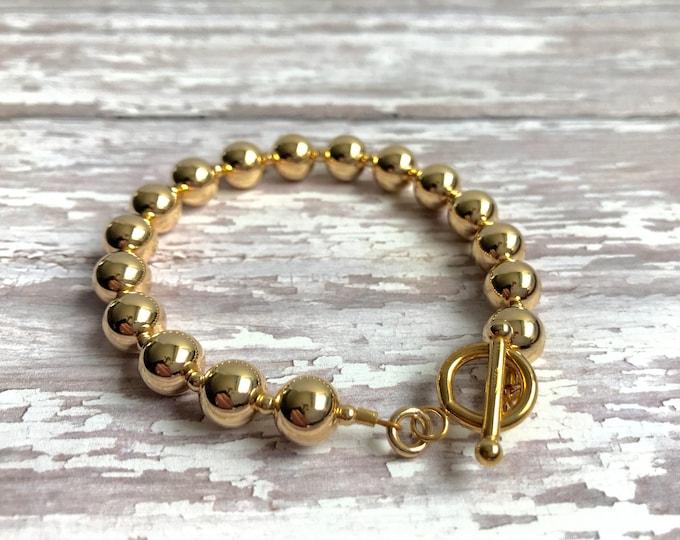 Solid 14 karat gold bead bracelet | Classic Round Bead Bracelet | Leslie Lewis Designs