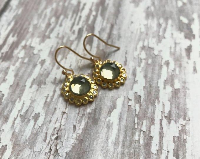 Labradorite and Quartz Flower Earrings