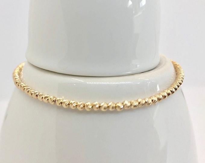 Solid 14 Karat Gold Beaded Bracelet-Laser Cut 2.5 mm