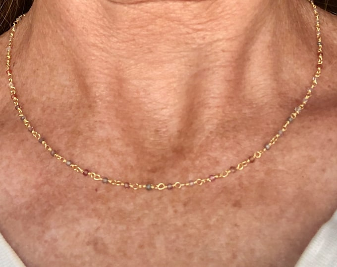 Tiny Gold and Gemstone Layering Chain