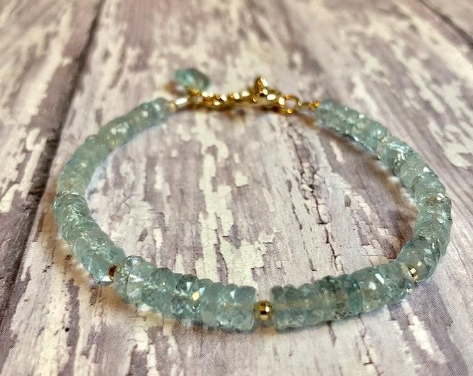 Aquamarine Gemstone Bracelet | March Birthstone | Aquamarine and Solid Gold Toggle