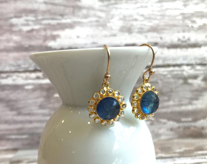 Lapis Flowered Earrings on Gold with White Topaz and Labradorite