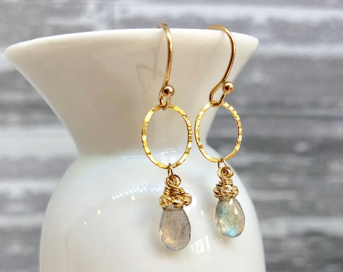 Gold and Labradorite Earring | Gray and Gold Drop Earring