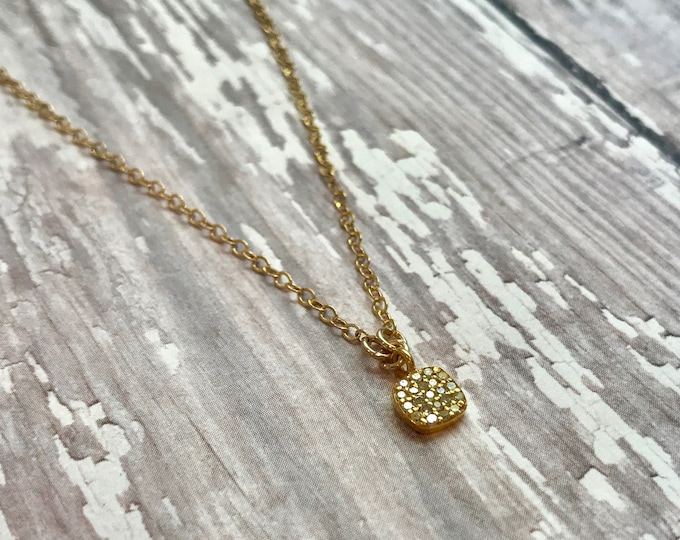 "Solid 14 Karat Gold and Diamond Necklace--16"" or 18"""