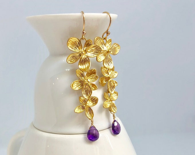 Gold Flowered Amethyst Earrings | Long Gold Purple Earrings