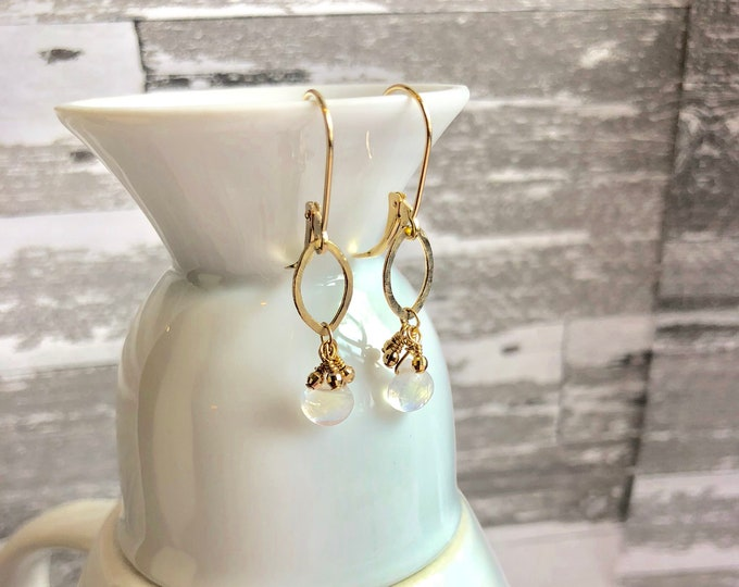 Solid gold and rainbow moonstone earrings on Leverbacks