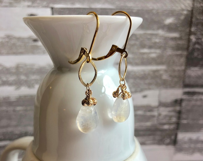 Rainbow Moonstone and 14k Solid Gold Earrings on Leverbacks