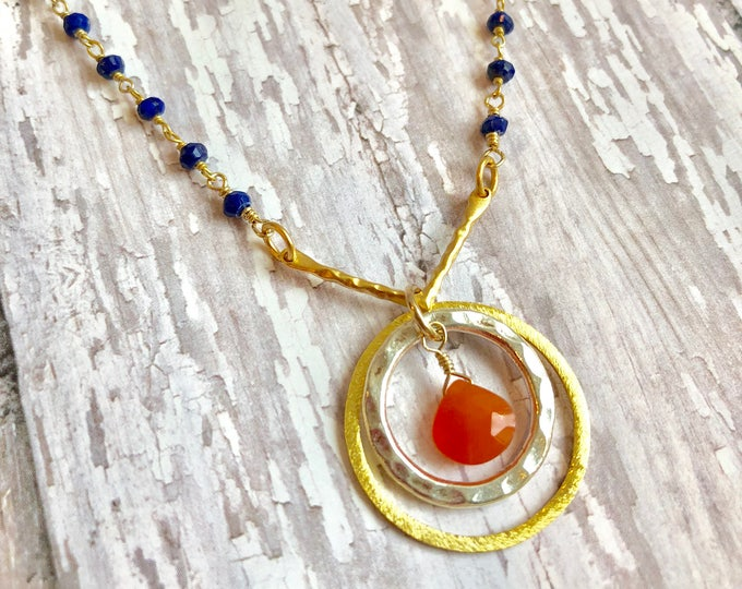 Lapis and Carnelian Wire Wrapped Necklace
