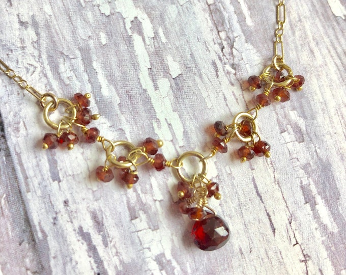 Garnet Gemstone Necklace | January's Birthstone | Valentine's Gift | Birthstone Jewelry