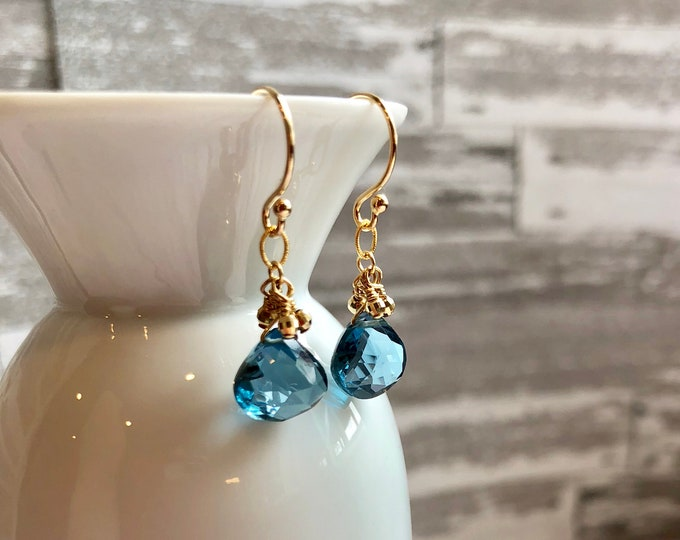 London Blue Topaz and Gold Earrings--14k Solid Gold Ear Wires