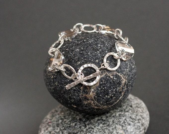 Hammered Silver Bracelet with Swarovski Crystal-The Perfect Gray Bracelet-- Silver Ring Bracelet