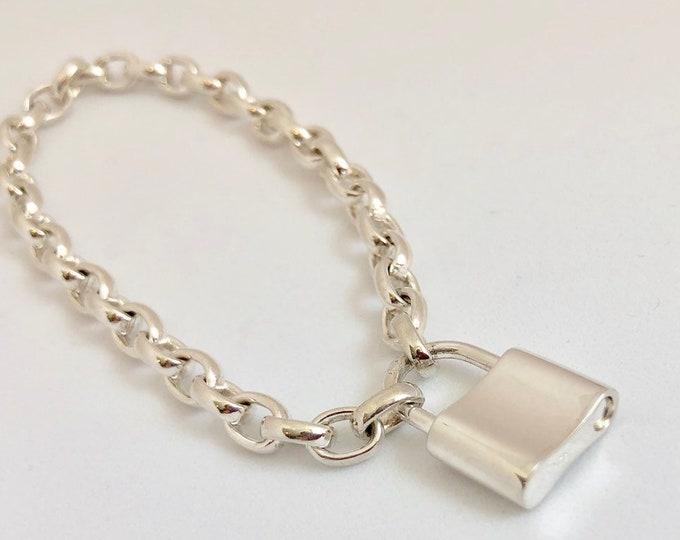 Sterling Silver Padlock Charm Bracelet